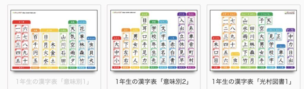 漢字表 意味別